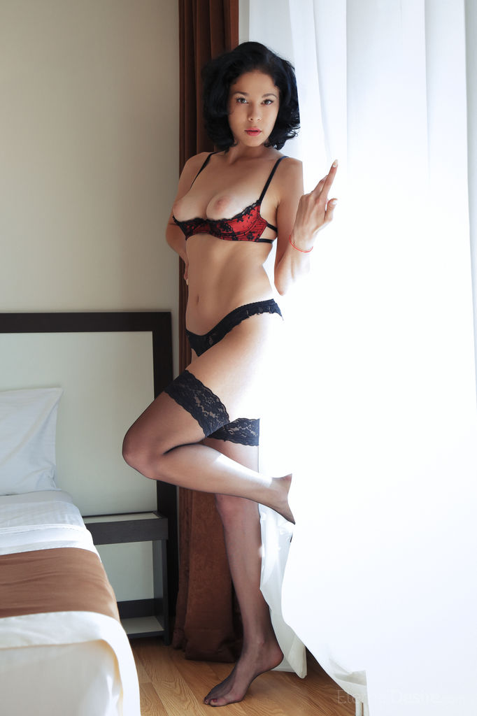 Мужик уговорил молодую любовницу в эротическом белье на откровенные фото